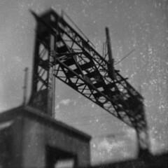 Pine Street Barge Canal Bridge (LowerDarnley) Tags: browniehawkeyeflash flippedlens dandipan expiredfilm 620film burlington vermont lakechamplain bridge canal railroad pinest