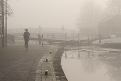 A Fog Jog (simonannable) Tags: fog jog girl foggy trentlock running blondegirl jogging exercise winter nikond750 small young longeaton uk canal still air blonde mist misty candid desaturated fit activity girls