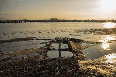 Shipwreck On River Mersey (Brian Travelling) Tags: liverpool shipwreck rivermersey sunset pentaxkr pentax water decay