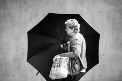 umbrella (alexhaeusler) Tags: blackwhite people street background closing umbrella