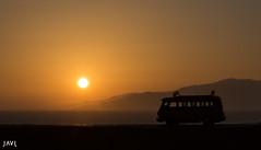 hippy sunset (JaviJ.com) Tags: sky landscape sunset auto water beach sun light car silhouette evening españa spain dawn vehicle hippie outdoors dusk hippy backlit paisaje sol atardecer van de puesta tarifa furgoneta no person andalucia