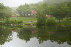 Green Hill (Chancy Rendezvous) Tags: green park worcester massachusetts morning mist fog sunrise pond trees red roof shelter water reflection greenhill d500 chancyrendezvous