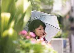 Japanese woman waiting for someone in city (Apricot Cafe) Tags: img660883 asia asianandindianethnicities canonef85mmf18usm harajuku healthylifestyle japan japaneseethnicity tokyojapan beautifulwoman carefree charming cheerful colorimage day elegance enjoyment flower greencolor handonchin happiness horizontal lifestyles longhair nature oneperson onlyjapanese onlywomen onlyyoungwomen outdoors people photography sideview sitting smiling street summer umbrella waistup waiting women youngadult