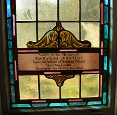 Stained glass window to the memory of Zachariah John Ellis at the former Wolseley Methodist Church, Old Tailem Town Village, Tailem Bend, South Australia (contemplari1940) Tags: stained glass window memorial zachariahjohnellis wolseley methodist church tailem town village