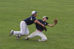 Collision, but a Catch! (brucetopher) Tags: orleans orleans308 american legion americanlegion americanlegionbaseball baseball ballplayer baseballplayer ballfield baseballdiamond baseballfield diamond bigdiamond youth sports sport kidssports youthsport highschool athlete athletes athletic ball field park ballpark player play passtime pasttime game contest summer