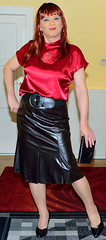 Birgit024495 (Birgit Bach) Tags: skirt rock fauxleather kunstleder top satin