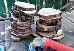 Polishing Wood Slices (Terraria) Tags: wood woodslice equipment woodwork polishing