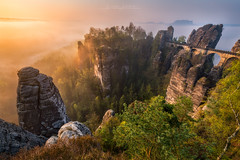 Bastei Sunrise (Alexander Lauterbach Photography) Tags: saxon switzerland saxonswitzerland sächsischeschweiz sunrise sonnenaufgang nebel fog mood golden landscape nature travel sony a7r a7rii