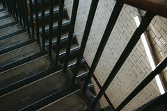Stairs (JacksonSwaby) Tags: structure stairs stair stairwell staircase sheffield light lamp tile tiles interior city wall