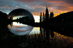 Paradise Divide Reflected (Robin-Wilson) Tags: sunrise paradisedivide reflection refracted timberline colorado crystalball focusstacked lake snow amalong crestedbutte sunrays5 coth