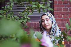 youth. (ari_lim) Tags: portrait female model hijab olympus outdoor friend nature brick green youth lightroom