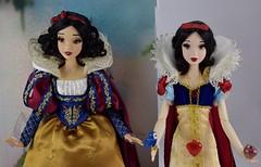 Snow White 17'' LE Dolls: D23 On Backing (2017) vs Original Deboxed (2009) - Midrange Front View (drj1828) Tags: d23 2017 expo purchases merchandise limitededition artofsnowwhite snowwhiteandthesevendwarfs snowwhite princess deboxing certificateofauthenticity le1023 original 2009 disneystore exclusive comparison groupphoto review