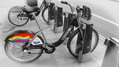 Love is love (ec1jack) Tags: ec1jack kierankelly loveislove pride london england britain uk europe gay hire bike santander freedom flag colours rainbow