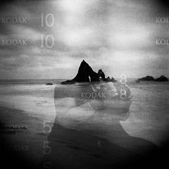 Kodak 10 (-Alberto_) Tags: kodak100tmax holga120n 120film doubleexposure istillshootfilm monochrome portrait seascape california