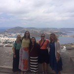 Honors student pose on a Greek island that they took a day trip to.
