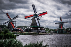 Windmills village Zaanse Schans, North Holland, Netherlands. Summer, 2017 (Tatsiana Volskaya) Tags: holland netherlands amsterdam nature wind windmill village mill sky blue weather cloud retro past history travel adventure tourism summer spring 2017 storm river lake sea vintage panorama nikon d3100 europe north