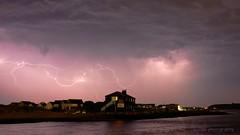storm warning again (SCRIBE photography) Tags: uk england dorset christchurch lightning storm water harbour beachhuts blackhouse therun hengistburyhead sea seascape clouds