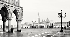 Early Morning Venice (Barry O Carroll Photography) Tags: piazzasanmarco stmarkssquare dogespalace ducalpalace sangiorgiomaggiore streetlamp lamppost empty calm venice venezia veneto italy italia morning dawn cityscape urbanlandscape travel architecture blackandwhite monochrome