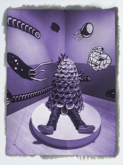 He Never Saw It Coming (Steve Taylor (Photography)) Tags: youllneverseeitcoming alien sea creature swallowedup art digital cartoon mural sculpture black grey mauve purple white fun man asia city singapore circle texture border covered heneversawitcoming purplepeopleeater