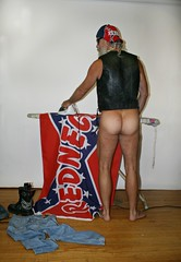 Doing Laundry (Cowboy Tommy) Tags: redneck leather rebel pantless flag ironing iron legs butt arse ass hiney bottom cheeks bubblebutt rump crack buns mounds tanline bikini tan hairy muscle muscles manly sex sexy hot rugged