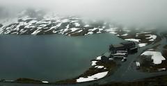 Surreal landscape (louise peters) Tags: dalsnibba geiranger fjord lakedjupvanet hoteldjupvasshytta lake meer mountain berg view uitzicht bustour snow sneeuw mist misty norway noorwegen surreal surrealistisch landscape landschap