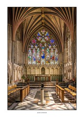 Lady Chapel, Exeter cathedral (G. Postlethwaite esq.) Tags: 3exposures devon exetercathedral hdr ladychapel lightroom sonya7mkii sonyalphadslr arches fullframe mirrorless photoborder ribs stainedglass window