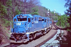 BM 309-306-300,  E. Deerfield, MASS. 5-17-1980 (jackdk) Tags: train railroad railway locomotive emd emdgp40 emdgp402 gp40 gp402 signal signalbridge signals standardcab bm bostonandmaine