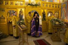 В Неделю 8-ю по Пятидесятнице епископ Воскресенский Савва совершил Божественную литургию в храме Воздвижения Креста Господня в Крекшино.