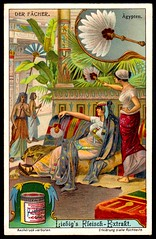 Liebig Tradecard S1081 - Fans - Egyptian (cigcardpix) Tags: tradecards advertising ephemera vintage chromo liebig