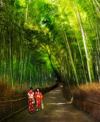 Two Women in Kyoto (Stuck in Customs) Tags: japan stuckincustomscom treyratcliff kyoto rcmemories hdr hdrtutorial hdrphotography pano panorama hasselblad x1d 30mm forrest forest path green bamboo