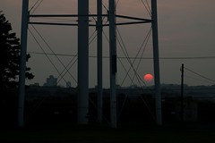 Water tower support structure at sunset - CRW_8508 (T. Brian Hager) Tags: watertower sunset silhouette metal sun wires canoneos7d digital color canon eos 7d