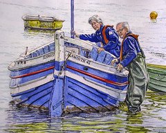 High Tide, Alnmouth (jeff smith 55) Tags: watercolour sea northumberland alnmouth boat rivers people mixed media