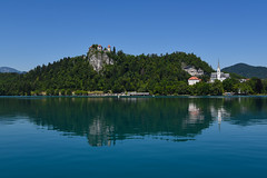 Bled Lake    *explore (sarah_presh) Tags: bled lake lakebled castle bledcastle summer slovenia blue water outside nikond750 church june holiday europe reflection calm