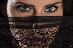 Kamila - Eyes 1 (lycheng99) Tags: kamila model woman face eyes veil scarf wear fashion cover transparent lips red