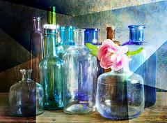 Collection (BirgittaSjostedt- away for a while.) Tags: galss bottles bluerose shades old texture unique art reflection sliderssunday birgittasjostedt