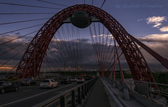 picturesque bridge (Lyutik966) Tags: picturesquebridge moscow russia river city arch track road cars sky detail structure line