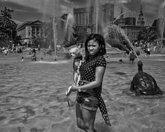 Logan Circle, 2017 (Alan Barr) Tags: logancircle group philadelphia 2017 street sp streetphotography streetphoto blackandwhite bw blackwhite mono monochrome water benjaminfranklinbridge candid city people panasonic lumix gx7