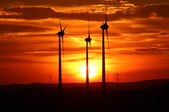 Wind engines and burning sky (Sven Bonorden) Tags: windrad windenergy windwheel windengine windturbine windenergie sonnenuntergang sonne sun sunset sundown evening abend abendstimmung drei three sky himmel orange red rot gelb yellow waltrop groppenbruch haldenördlichderdrucksbrücke dortmund ruhrgebiet westfalen nordrheinwestfalen germany deutschland