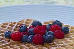Berry Season Breakfast (brucetopher) Tags: berry berries blueberry raspberry blueberries raspberries syrup waffle belgianwaffle belgian fruit breakfast plate coffee cafe outside outdoors outdoor food eat tasty sweet homegrown organic grow home grown