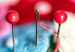 gabba gabba hey (LoomahPix) Tags: 3 36mmext d750 flickr macromondays needles nikon macro macrophotography pins red thread closeup three trio tripple 7dwf