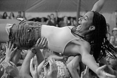 Living Conveyor Belt (peterkelly) Tags: bw guelph ontario womenexpression canada guelphlakeconservationarea northamerica concert music hillside hillsidefestival 2017 festival crowdsurfing crowdsurfer woman crowd audience hands smiling smile duchesssays tent