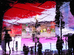 Circus Ghosts XXXII (Douguerreotype) Tags: england london red people urban uk water british street piccadillycircus lights city reflection britain night umbrella silhouette gb rain