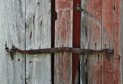 Secured (Doris Burfind) Tags: barn farm iron metal latch hook red weathered portgranby ontario rust nails