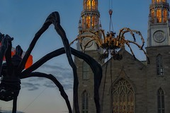 Itsy bitsy spider climbed up the cathedral.... (beyondhue) Tags: la machine ottawa performance theater outdoor street notre dame cathedral basilica beyondhue summer canada spider maman sculpture robot metal heavy dusk spectacle production theatrical