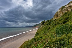Curve (Nige H (Thanks for 10m views)) Tags: beach nature landscape devon branscombe sky cloud cliffs trees sea seascape wave stormy storm weather summer england