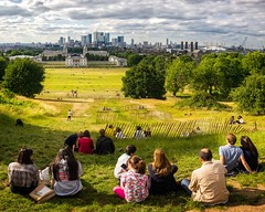 The View from the Observatory (Greenwich, United Kingdom 2017) (Alex Stoen) Tags: canarywharf cityscape destination dramatic greenwich greenwichobservatory leicamptyp240 london memories meridian observatory oldnavalcollege panorama park sky skyline southlondon summiluxm35mm travel unitedkingdom vacation creativecomposition specialmoments vantagepoint