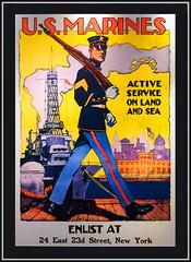 'U.S. Marines' -- Recruiting Poster U.S. Navy Memorial Washington (DC) 2017 (Ron Cogswell) Tags: usmarinesrecruitingposterusnavymemorialwashingtondc usmarinesrecruitingposter usnavymemorialwashingtondc roncogswell recruitiingposter armedforcesrecruitingposter usmarines