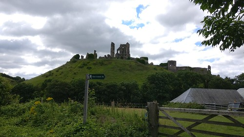 View of Corfe Castle from the A351
