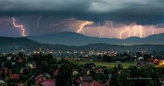 Lightning show (Grzegorz M - mobile photography) Tags: lightning storm bolt thunder żywiec chasing hobby strike city panorama zoom landscapoe landscape hills mountain