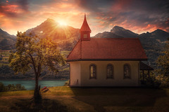 Nightfall (Chrisnaton) Tags: switzerland walensee betlis chapel tree mountains lake eveningmood eveninglight eveningsky sunset summer landscape outdoor nature nightfall